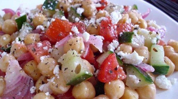 Mediterranean Chick Pea Salad | Delicious Foods | Pinterest