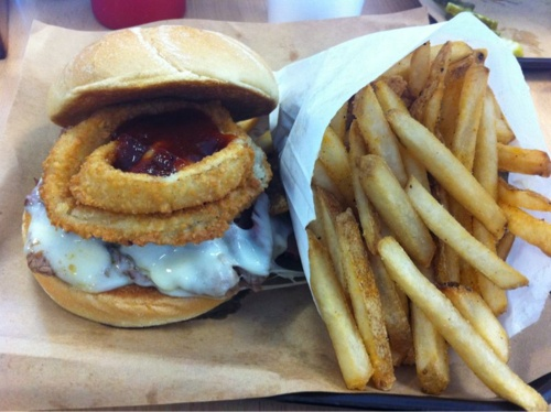 The famous Z-Man sandwich Oklahoma Joe's - cheese, onion ring, bbq por ...