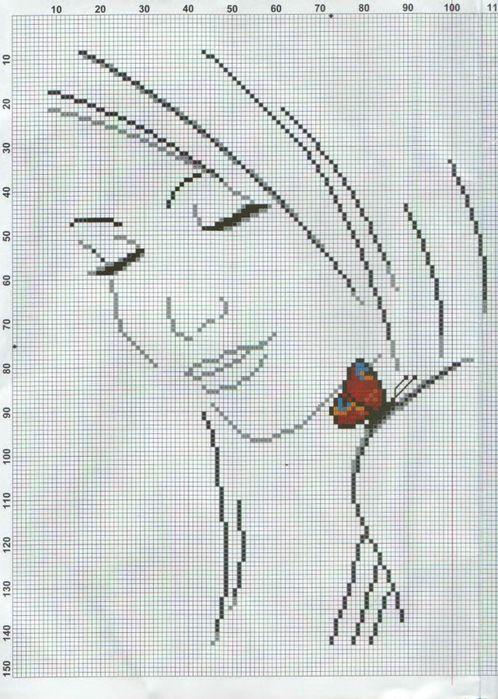Вышивка схема девушка с бабочками 7