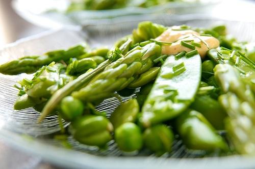 Asparagus, Fava Bean, Sugar Snap Pea Pods and Pea Salad ..... Check ...