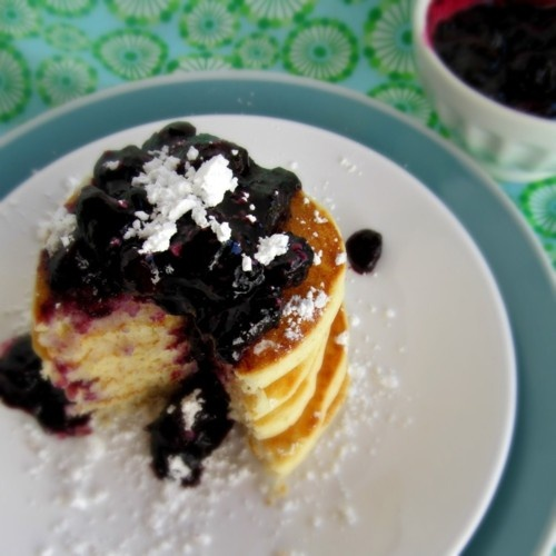 roasted blueberries and gluten-free buttermilk oat pancakes.