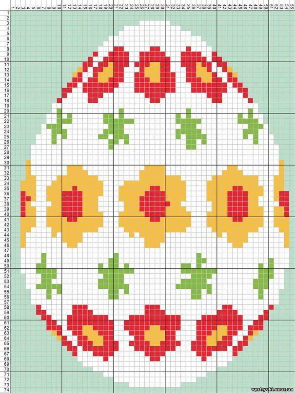 Вышивка крестом пасхальное яйцо схема 14