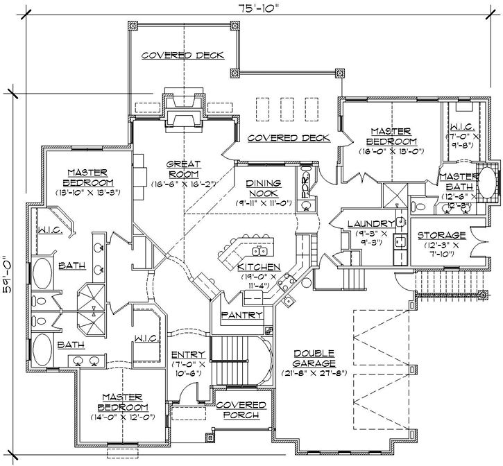 3 master suites home plans pinterest for Home plans with two master suites
