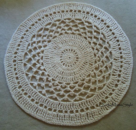 Crocheting Round Rugs : PATTERN Radiance Crochet Cotton Round Rug 36 by QuirkyMamaStyle