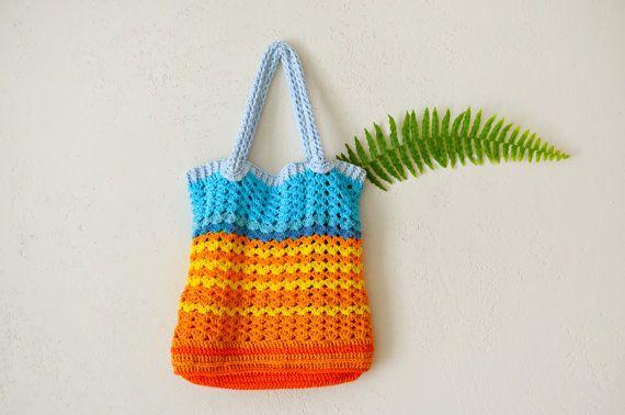 Crochet Book Bag : Tote bag, crochet book bag, crochet tote bag, market bag, shopping ba ...