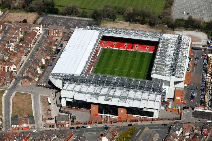 Wake up to an aerial view of the liverpool ground on your bedroom