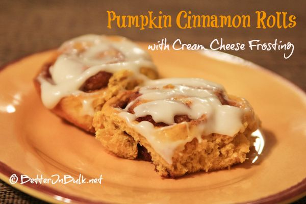 Pumpkin Cinnamon Rolls with Cream Cheese Frosting via http ...