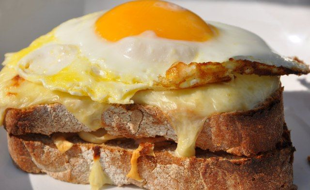 Croque-monsieur & Croque-madame. French grilled-cheese sandwich