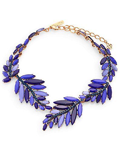 Shop now: Oscar de la Renta Swarovski Crystal Leaf Necklace