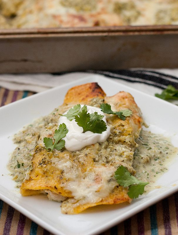 Enchiladas Suizas - chicken enchiladas with tomatillos (use refined ...