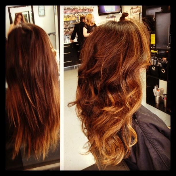 Copper And Caramel Highlights | Dark Brown Hairs
