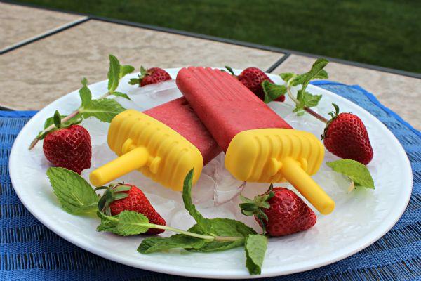 Watermelon Strawberry Pops With Fresh Mint via @Laureen Fox