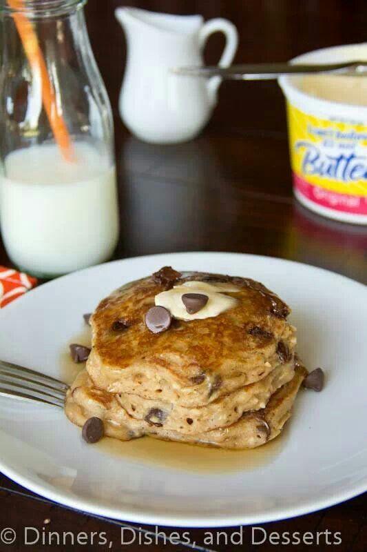 http://dinnersdishesanddesserts.com/oatmeal-chocolate-chip-pancakes/