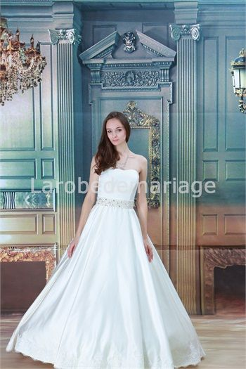 Robe de mariée simple décorée de dentelle et perle A-ligne en satin