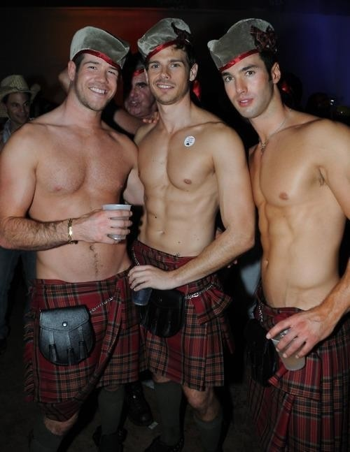 three lads in kilts