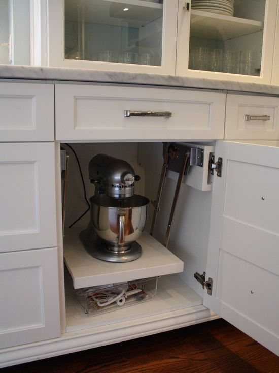 Kitchen Aid Cabinets With Popup Mixer Shelf Eclectic Kitchen Aid