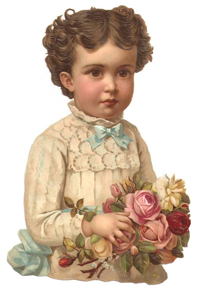 Victorian Chromo Die Cut Flower Girl Dress Rose Scrap 1880s