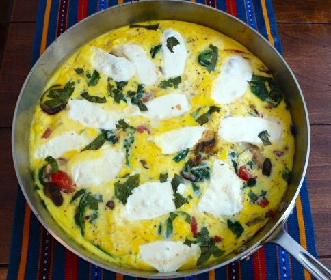 Mushroom, Tomato and Mozzarella Frittata with Spinach and Fresh Basil