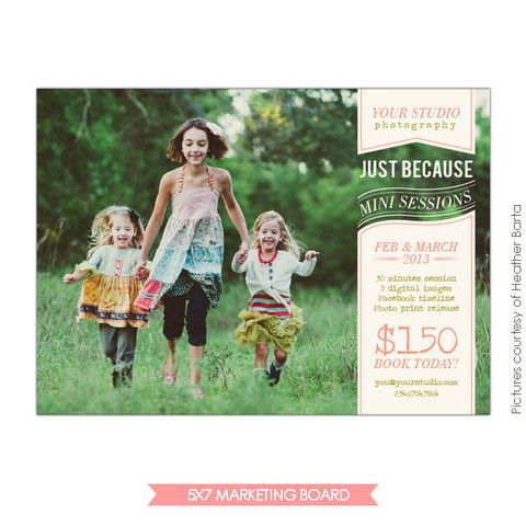 Photography marketing board just because for Free mini session templates