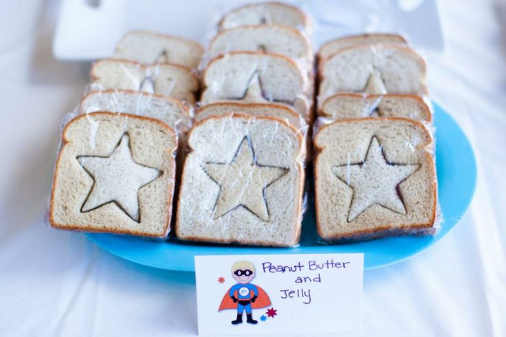 Easiest idea for superhero party sandwiches: Star cookie cutters!