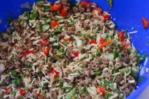 ... Stuffed Zucchini Recipe with Brown Rice, Ground Beef, Red Pepper, and