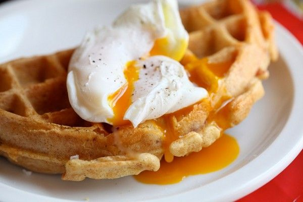 Cornmeal Ham & Cheese Waffles