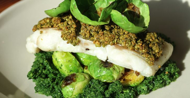Pistachio-crusted Cod with Brussels Sprouts and Winter Greens Puree ...