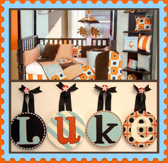 Kids Baby Nursery Boy Round Hanging Wall by candicenkatiesart, $22.95