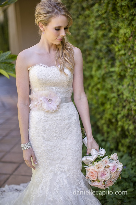 pink floral sash for her wedding dress  http://daniellecapitophotography.com/