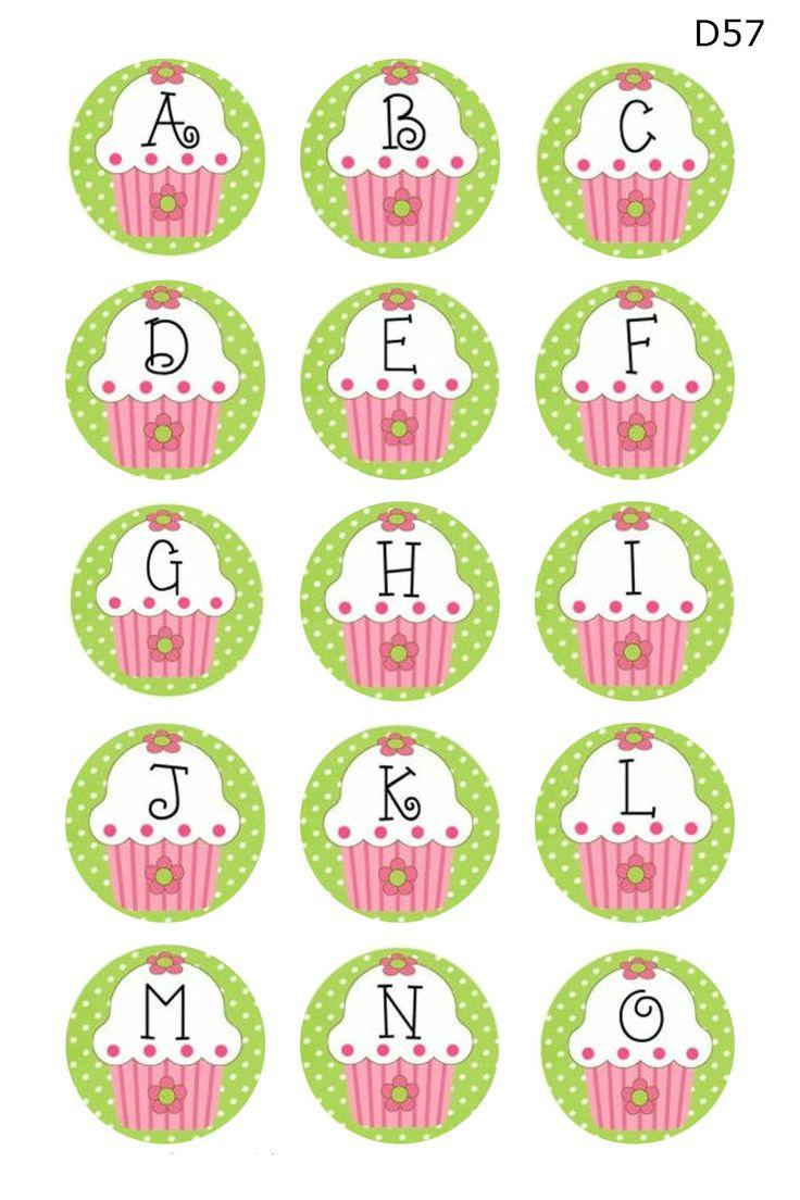 cupcake alphabet a-o 4x6