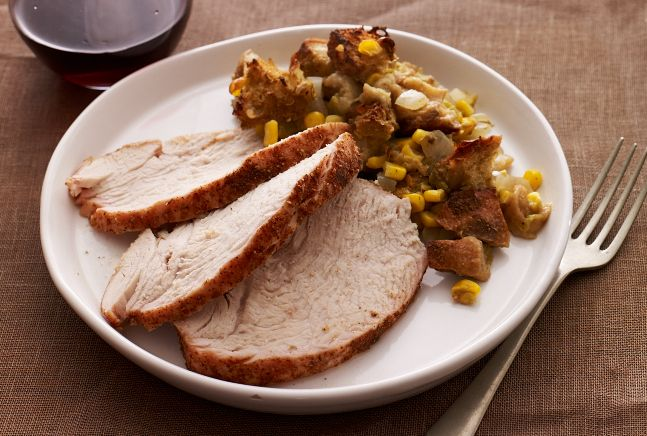 Don't want to cook a whole turkey? Try a Turkey Breast Roast - Southwestern Turkey Breast & Green Chile Stuffing