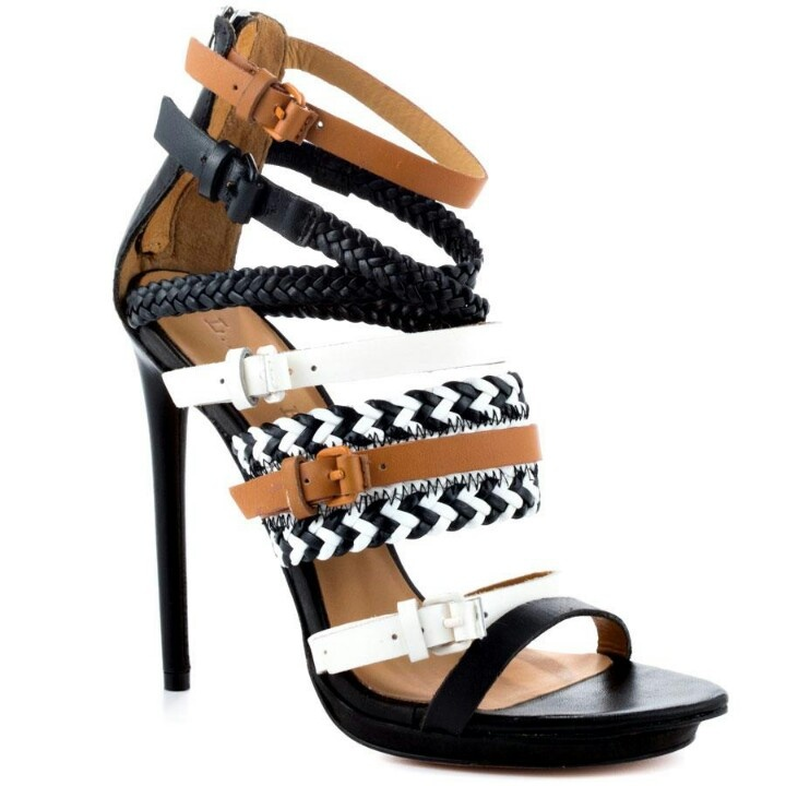 black n white strappy shoes