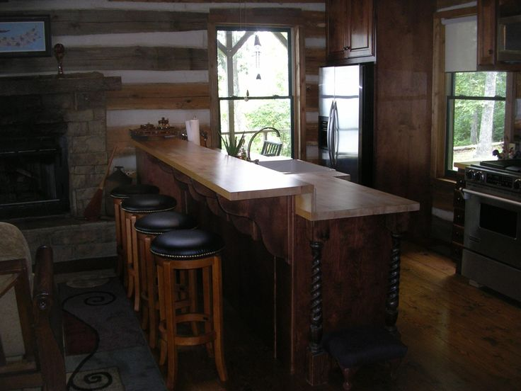Cabin kitchen island our future cabin pinterest for Log cabin kitchen islands