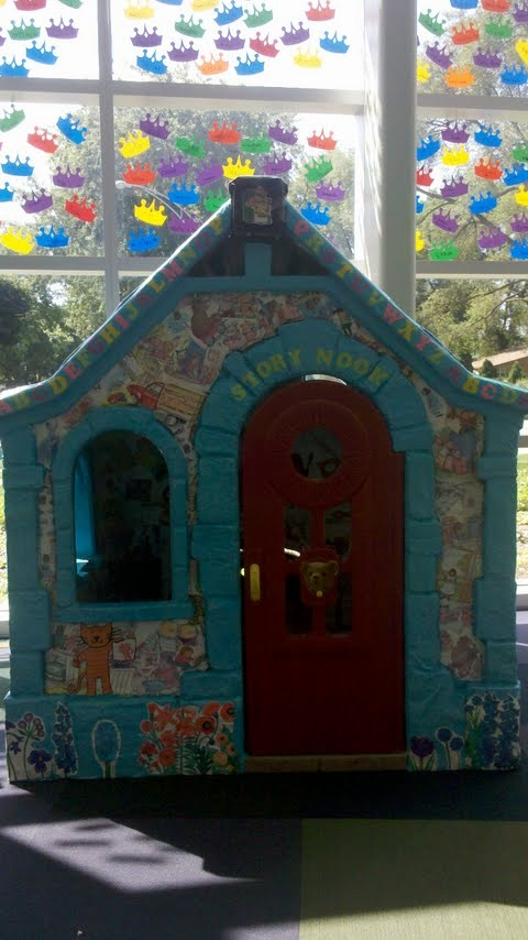 """Recyling weeded children's books, an Addison Library staff member and I created a """"Story Nook"""" for our youngest patrons."""
