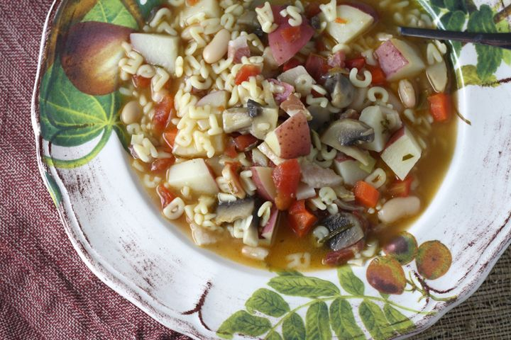 Pasta Soup with Potatoes, Pancetta and Mushrooms