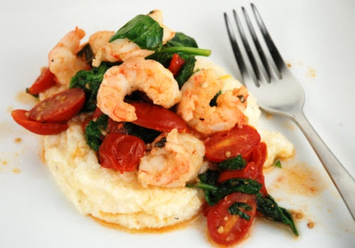 Shrimp, tomato, and spinach on cheese grits--I'm going to try in on a ...