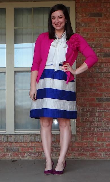 LOFT skirt NY Cardigan Old Navy blouse Olsenboye shoes
