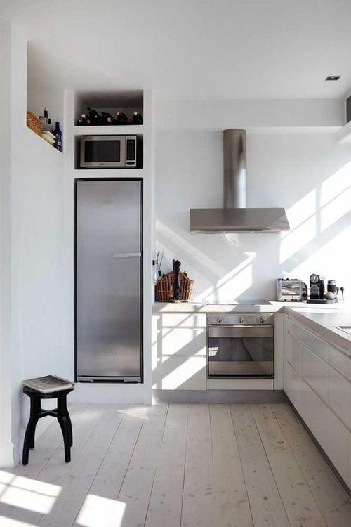 Modern Simplistic Kitchen Narrow Fridge Small Kitchen Pinterest