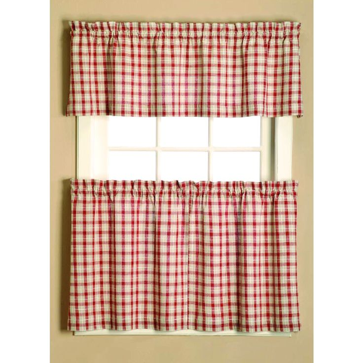 Give your home a country-style feel with this plaid curtain tier set ...