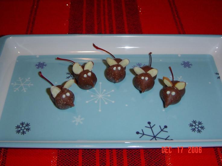 Chocolate Christmas mice | Food | Pinterest
