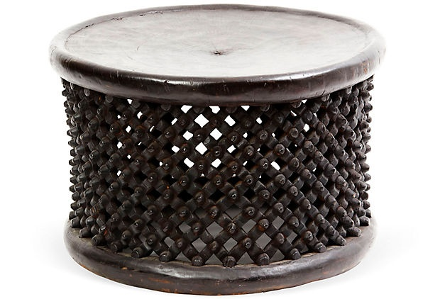 African Carved Ebonized Drum Table