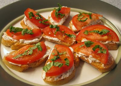 ... Tomato and Fresh Basil Crostini with Feta and Roasted Garlic Cheese