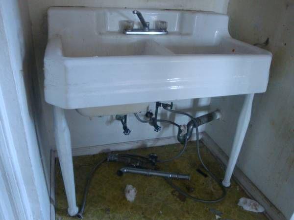 Vintage Cast Iron Porcelain Sink Kitchen