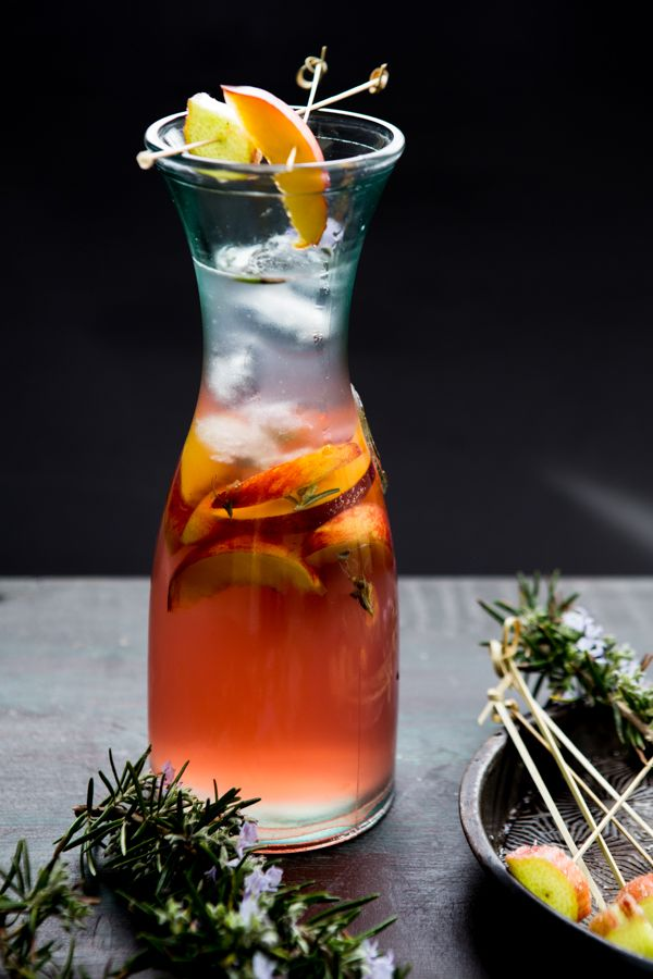 Peach, Rosemary Blossom & Rhubarb Ice Tea Recipe by Multiculti Kitchen