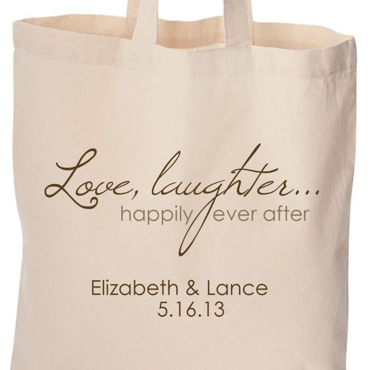wedding party gifts or gift bags for wedding guests love laughter and ...