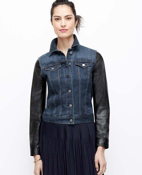Ann Taylor Petite Faux Leather Sleeve Denim Jacket