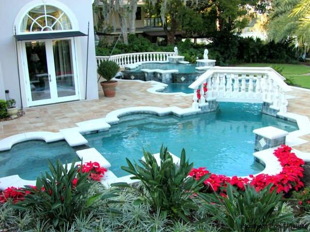 Fancy Backyard Pools : Fancy pool with walking bridge