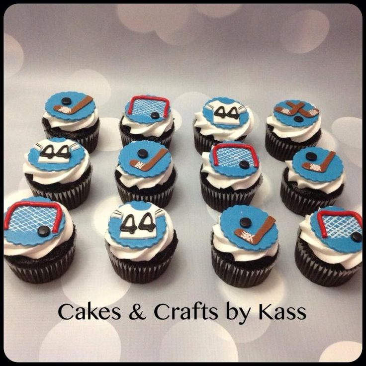Cupcake Decorating Ideas Hockey : Hockey Cupcake Toppers These were for a very awesome lil ...