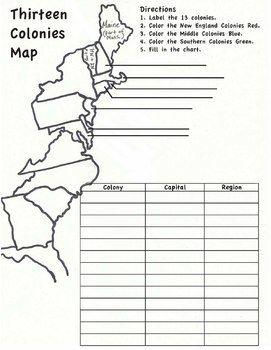13 colonies map worksheet social studies pinterest