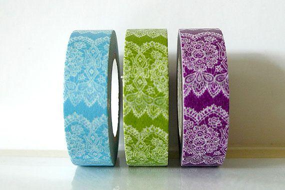 Vertical Purple Lace Trim Paper Washi Tape Japanese 15mm